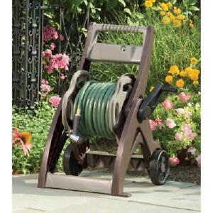 Portable Hose Reel 175 Ft Cart Light Wheels Roll Up Garden Water Storage Wash