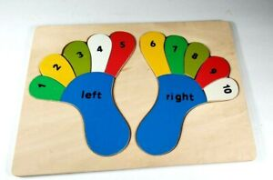 Educational Wooden Numbers Colors Toddler Toy Teaching Feet Right Left Puzzle