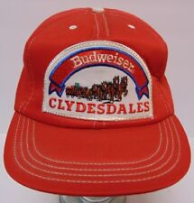 Vintage 1980s Budweiser Clydesdales Red Denim Patch Snapback Trucker Hat Cap Usa