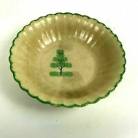 Antique 18th / 19th Century French English Yellow Ware Bowl Scalloped Green Rim