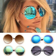 Oversized Round Circle Mirror Lens Sunglasses Retro Vintage Gold Frame Designer