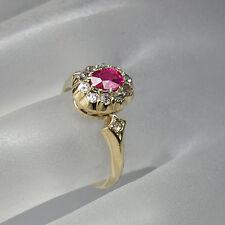 Ring Art Deco mit ca. 0,60ct Diamantrosen und ca. 0,60ct Rubin in 585/14K GOLD