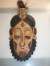 Afrikanische Maske mit Haaren Doppelkopf Holzmaske African Mask Wood Holz