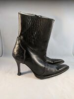 Los Altos Stilleto Side Zip Boots Black Full Quil Ostrich Back Point Toe Size 5