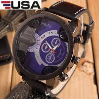 Fashion Luxury Men's Stainless Steel Analog Quartz Leather Sport Wristwatches US