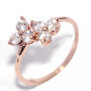 Rose Gold Filled Flower Wedding Engagement Ring for Womens Lady Jewelry Size 7