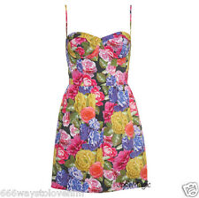 Topshop Photographic Corset Dress 10 38 Floral Rose Print Cup Bustier Style New
