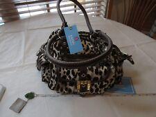 Kathy Van Zeeland purse handbag shoulder bag square satchel leopard H24307 NOS