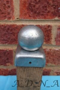 """50mm X 50mm (2"""") GALVANISED SQUARE  METAL FENCE POST CAP TOP WITH BALL 50mm"""