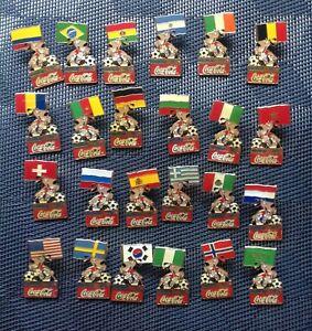 1994 FIFA World Cup USA Coca Cola Stryker Mascot Holding Flag 24 Pin Set