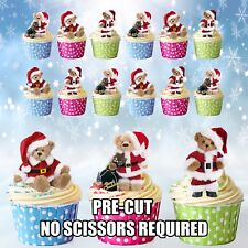 PRECUT Santa Teddies Teddy Bears 12 Christmas Cup Cake Toppers Cake Decorations