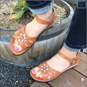 Womens Mexican Handmade Leather HUARACHES Sandals Sandalia Mujer Broche Flor