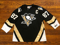 CCM Sidney Crosby NHL Pittsburgh Penguins Captain C Jersey Sewn Stitch—Men's L.