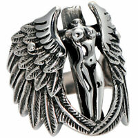 925 Sterling Silver Boho Fashion Cross Angel Wings Ring Size: One Size Fit All