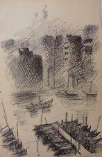 MAN COLLOT (1903-1962)-Gd format-Marine-Fauvisme-Bateaux-Encre-1950-Non Signé