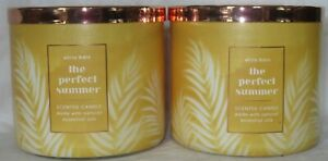 White Barn Bath & Body Works 3-wick Scented Candle Lot of 2 THE PERFECT SUMMER