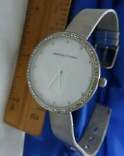 Adrienne Vittadini AD11377 mesh SILVER TONE band WATCH, works, NEW BATTERY A15