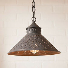 Stockbridge Pendant Shade Light in Black w/ Willow | Primitive Kitchen Pendants