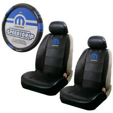 New Blue Mopar Logo Car Truck Front Seat Covers & Steering Wheel Cover Set