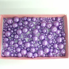 200 Assorted Sizes 4mm 6mm 8mm 10mm Glass Pearl Beads Lavender