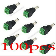 100pcs DC 5.5 x 2.1mm Power Male Jack Adapter Cable Plug Connector for CCTV /LED