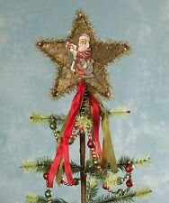 Bethany Lowe Traditional Star Tree Topper With Santa Tl7788 New