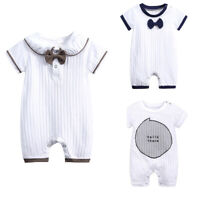 Newborn Baby Boys Short Sleeve Knitted Ruffle Jumpsuit Romper Clothes Bodysuits