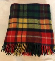 "West Of England Wool Red Green Yellow Plaid Blanket Throw 70x50 3"" Fringe EUC"