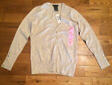 NEW Womens GRACE ELEMENTS Latte Heather Button Up Boyfriend Cardigan Sweater S