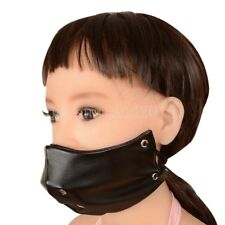 Roleplay PULeather Half Face Mask Hood with Gag Harness Restraint Fetish Slave