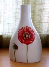 "VILLEROY & BOCH Flora Summerfield 10.5"" Vase Red Poppy Design Made in Portugal"