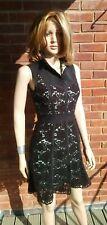 Karen Millen Dress - Ladies Designer Black Crochet Fully Lined Dress Size 8