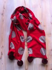 Wie neu:  feiner Strick-Schal, rot-beige 26 x 195 cm, Bommeln