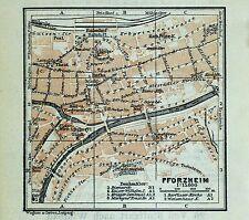 PFORZHEIM, alter farbiger Stadtplan, datiert 1913