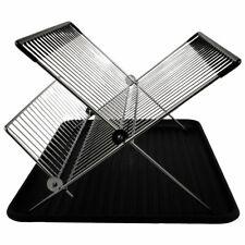 Escurreplatos negro acero inoxidable y plástico cocina escurridor platos