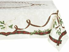 Lenox Holiday Nouveau Tablecloth, 60 by 84-Inch Oblong / Rectangle, Ivory NEW