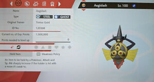 Shiny Aegislash 6IV Max EVs Competitive Pokemon Sword Shield FAST DELIVERY