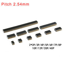 2.54mm Double Row Straight Copper Pin Female Header 2x2P/3/4/5/6/8/10/12/20/40P