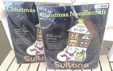 Christmas Needle Craft Felt Stockin Santa Toy Shop New Vintage Lot Of 2 Sultana