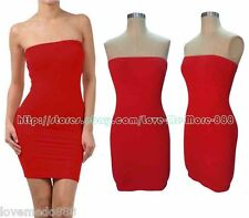 Solid Womens Party Club Casual Slim Fit Tube Strapless Bodycon Mini Dress LARGE