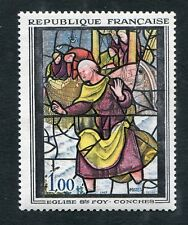 Timbre FRANCE neuf TB** YT n° 1377 : Art : Vitrail à CONCHES - 1963