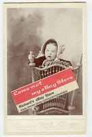 Cabinet Photo-Sterling, Nebraska-Very Cute Baby Standing Ornate Chair W/Bonnet
