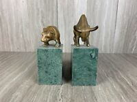 Bull And Bear Of Wall Street Stocks Granite Marble Brass Bookends Landmark