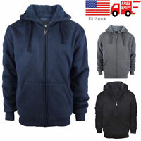 Men's Winter Warm Fleece Hoodie Hooded Sweatshirt Zip up Jacket Coat Black Tops