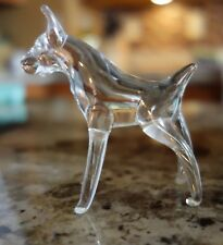 Vintage Clear Art Glass Dog Figurine Boxer or Doberman Figure Animal