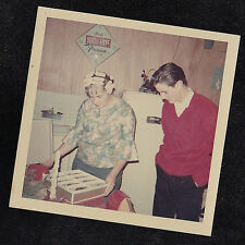Vintage Photograph Man w/ Woman Wearing Rollers in Hair - Retro Kitchen