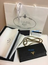 "Sydney Prada Stamped Authentic Card & Box ""Prada"" Black Leather Wallet On Chain"