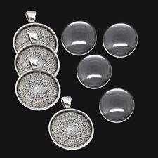 4 SET Silber Fassungen Anhänger Medaillons Cabochon Klar Glas 25mm Basteln DIY