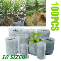 100PCS Biodegradable Non-Woven Nursery Bags Plant Grow Bags Seed Raising Pots