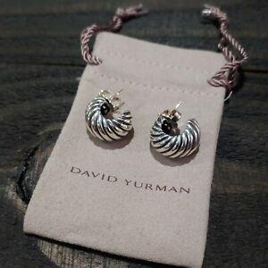 David Yurman Sterling Silver & 14K Gold Twist Cable Huggie Hoop Shrimp Earrings